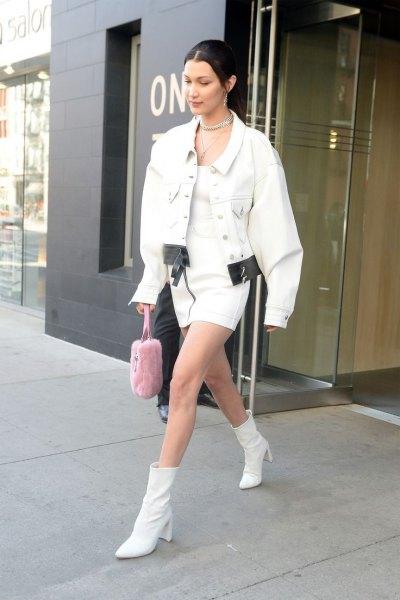 leather ankle boots oversized white denim jacket