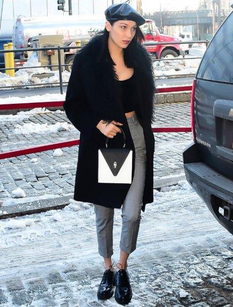leather flat cap black crop top faux fur coat