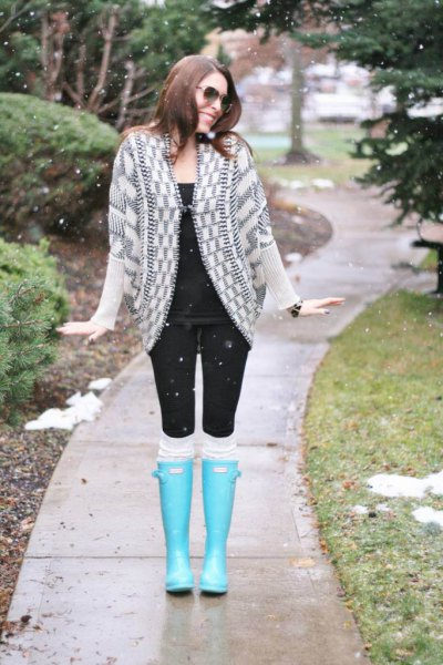 light blue knee high rain boots