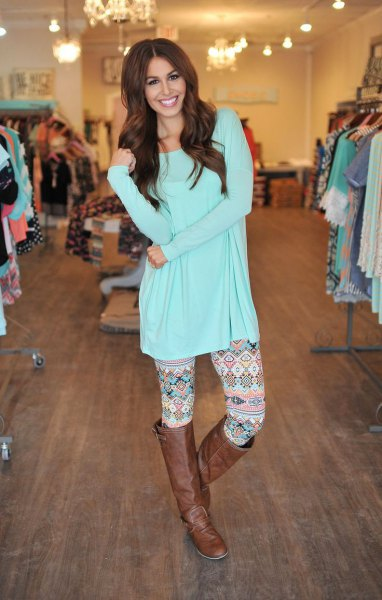 light blue tee dress printed leggings