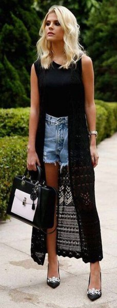 long black crochet cardigan denim shorts