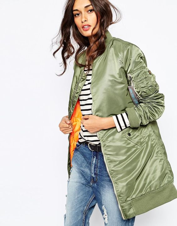 long bomber jacket stripes