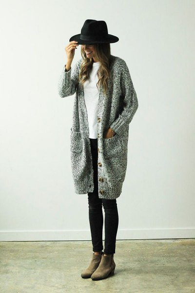 long knit sweater cardigan outfit