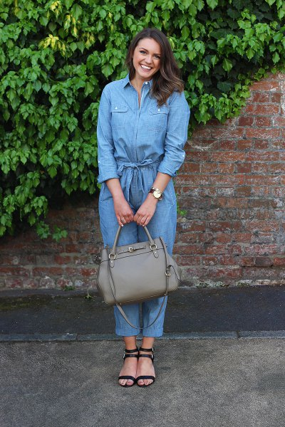 long sleeve chambray jumpsuit strappy heeled sandals