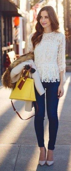 long sleeve lace top pale pink heels