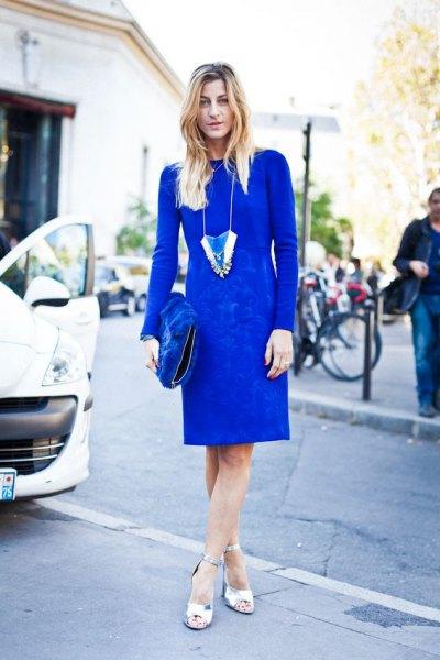 long sleeve royal blue dress silver heels