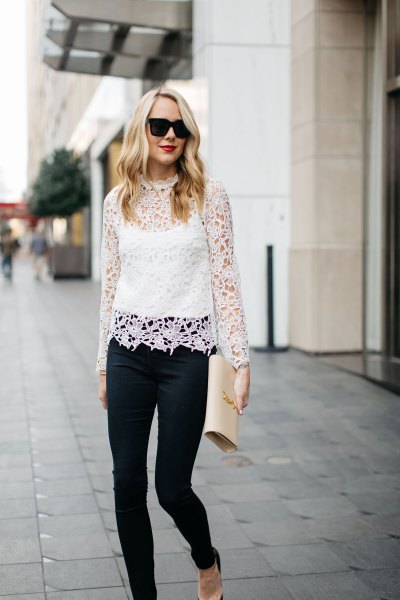 long sleeve white lace top skinny jeans