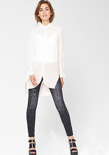 long white chiffon blouse velvet leggings