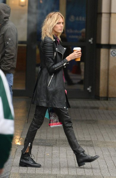 longline leather jacket ankle boots