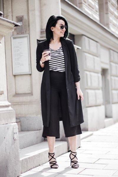 longling black blazer culottes