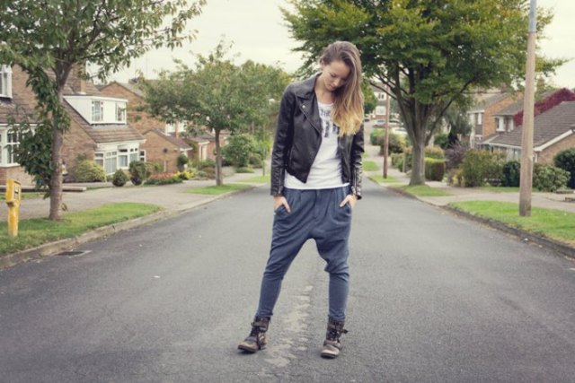 low waisted pants black leather jacket harem pants