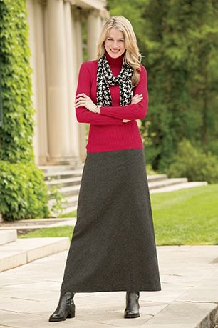 maxi grey wool skirt red sweater