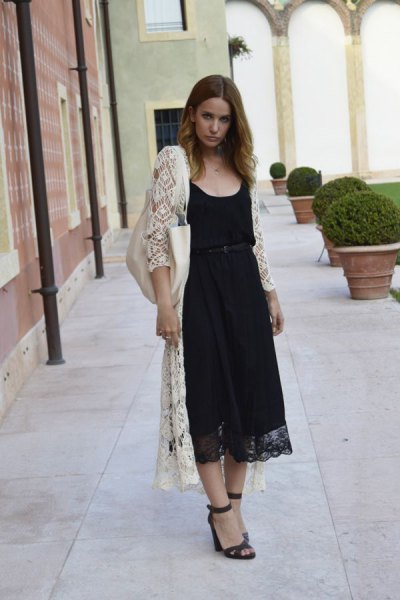 maxi white cardigan black midi lace dress