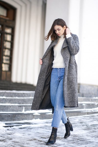 mom jeans grey wool coat
