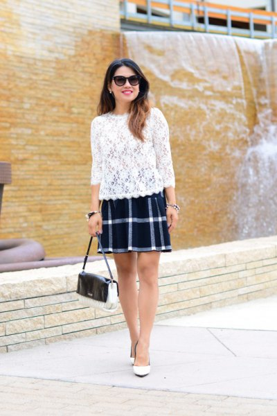 navy and white plaid skirt