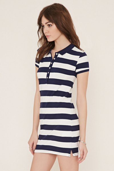 navy and white striped polo shirt dress