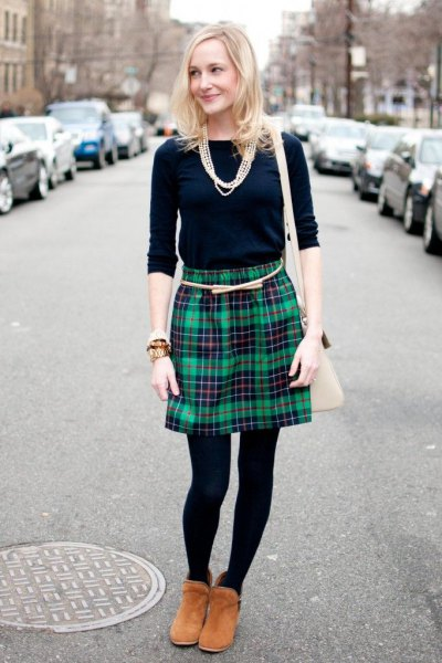navy long sleeve tee grey plaid wool skirt