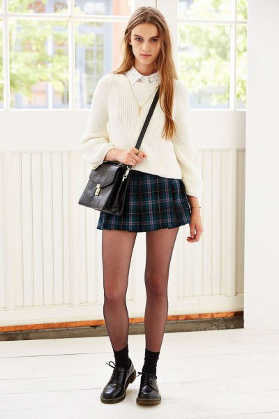 navy plaid mini skirt white sweater
