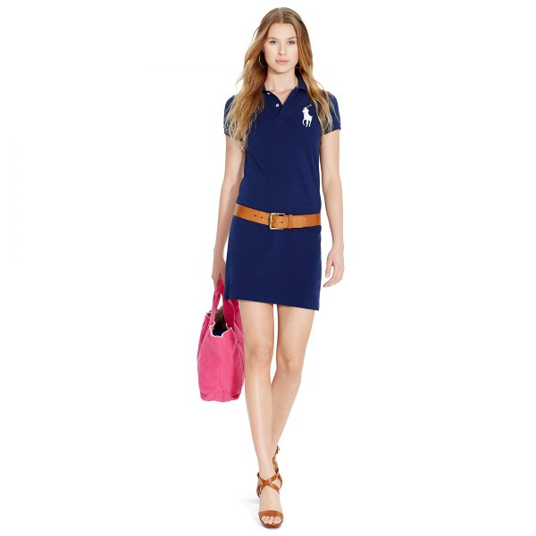 navy polo shirt dress brown leather belt