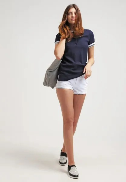 navy polo shirt white shorts outfit