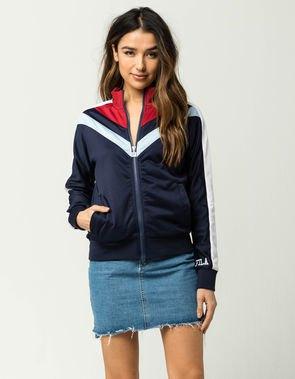 navy red white windbreaker jacket denim skirt