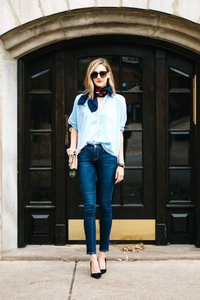 navy silk bow scarf shirt skinny jeans