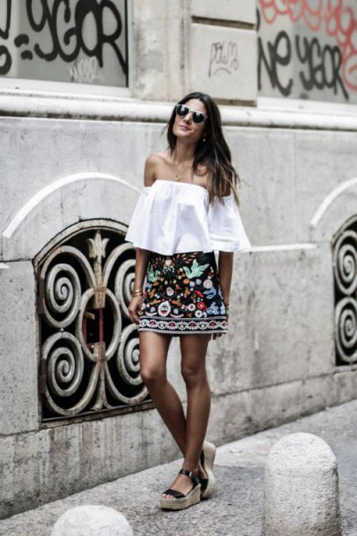 off shoulder blouse black skirt