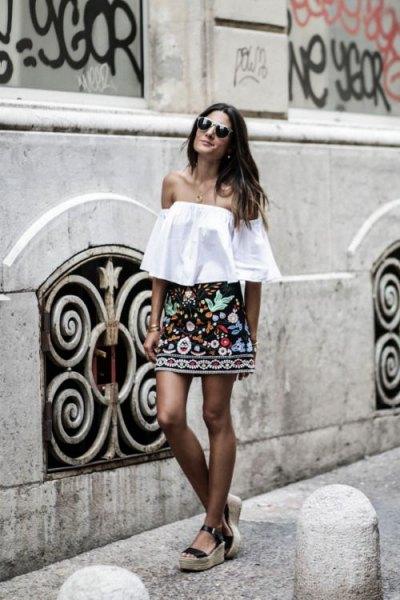 off shoulder blouse black skirt
