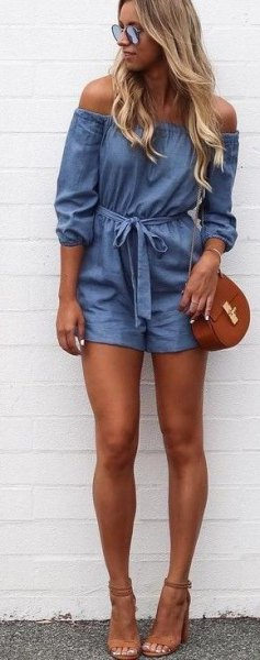 off shoulder romper brown open toe heels