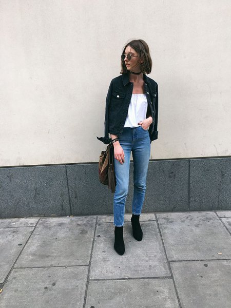 off shoulder white blouse black denim jacket