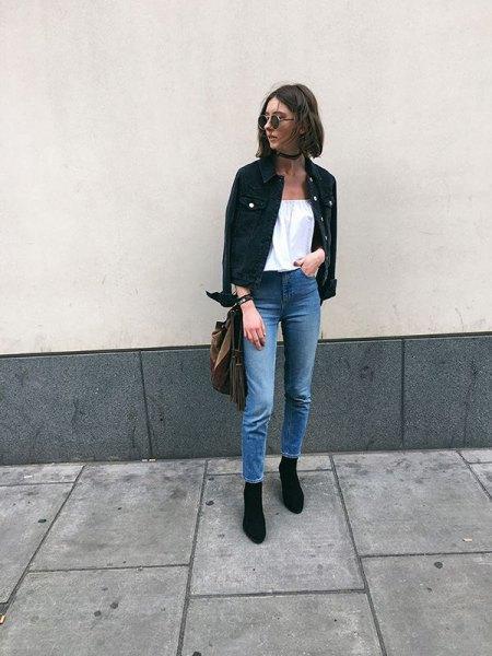 off shoulder white blouse black denim jacket