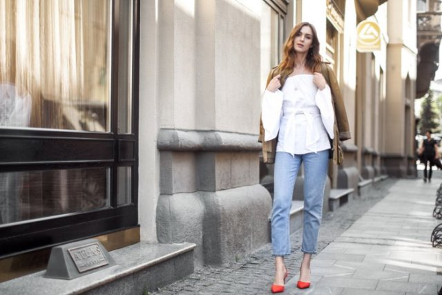 off shoulder white blouse mom jeans
