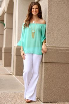 off the shoulder chiffon blouse linen pants