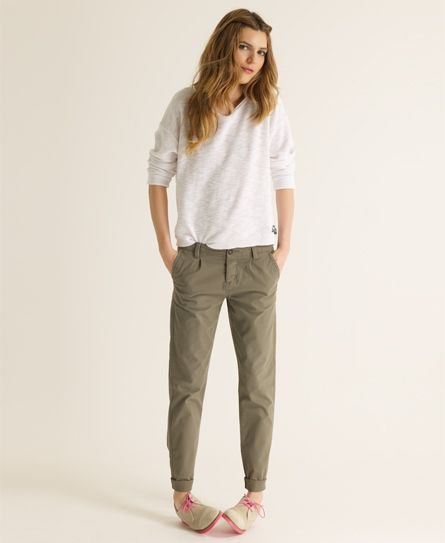 olive green chinos white sweater