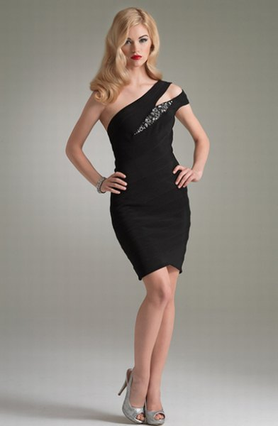 one shoulder black cocktail dress