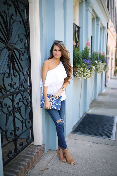 one shoulder ruffle top ripped jeans