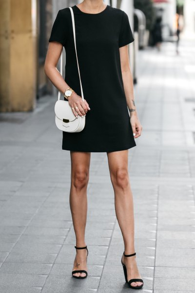 open toe ankle strap heels black shift dress