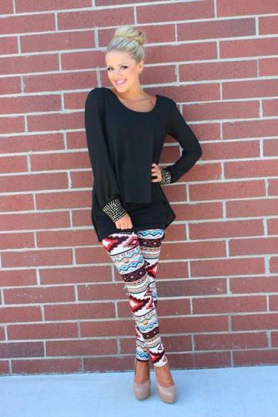 oversized long sleeve black t shirt floral leggings