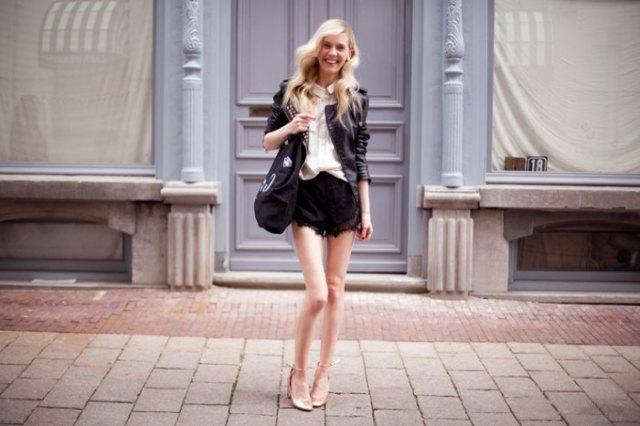 pale pink blouse black leather jacket