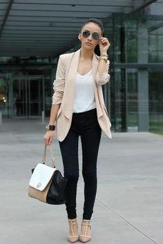 pale pink chiffon blazer black skinny jeans
