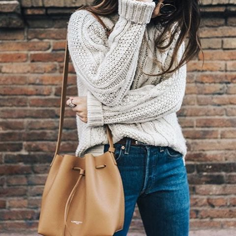 partially tucked in chunky sweater outfit