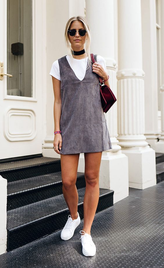pinafore dress grey suede