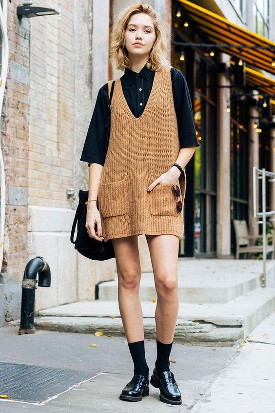 pinafore dress knit camel