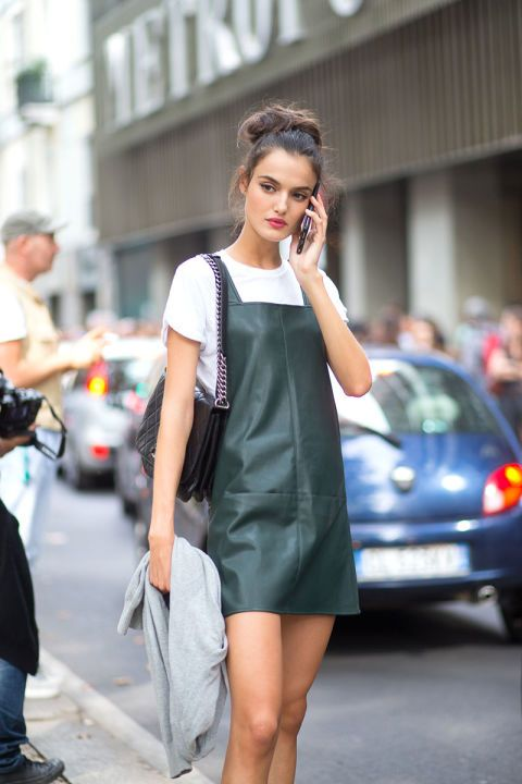pinafore dress leather emerald green