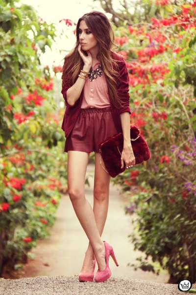 pink blouse red leather shorts