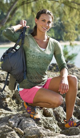 pink khaki shorts long sleeve print tee