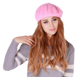 pink painters cap grey white knit sweater