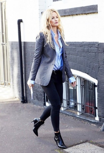 pointed toe ankle boots with polka dot blazer