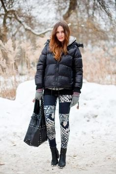 puffer jacket printed jeans