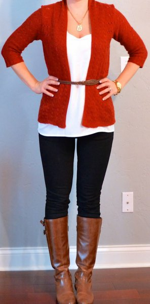 red cardigan skinny jeans knee high boots